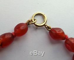 Antique Victorian Chinese Carved Carnelian Agate Oval Beads Necklace 18ct Gold
