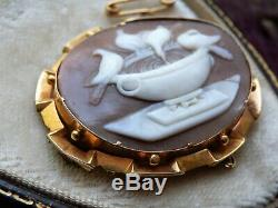 Antique Victorian' Doves Of Pliny' Shell Carved Cameo Gold Brooch Pin