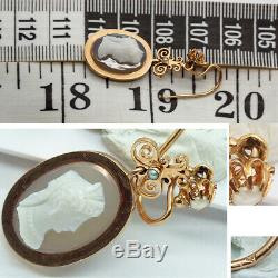 Antique Victorian Earrings Carved Cameos Women 18k Gold Pearls French (6292)