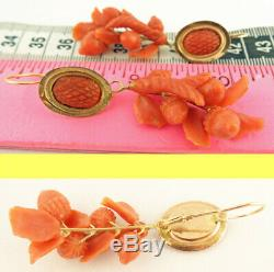 Antique Victorian Earrings Ear Pendants Carved Coral Gold Acorn Day Night (5600)