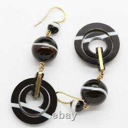 Antique Victorian Earrings Mourning Jewelry 18k Gold Carved Agate French (6326)