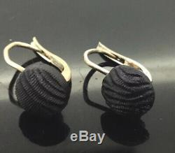Antique Victorian Earrings Small French Dormeuse Carved Whitby Jet Gold Gilt 375