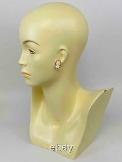 Antique Victorian Edwardian 18K Gold Carved Shell Cameo Woman Portrait Earrings