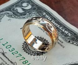 Antique Victorian Edwardian 2-Tone 14K Gold Wedding Band Ring-7.1g-Carved-Sz 6.5