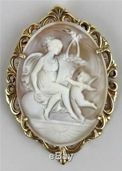 Antique Victorian Edwardian Carved Shell Cameo Cupid 14K Gold Pendant Brooch Pin