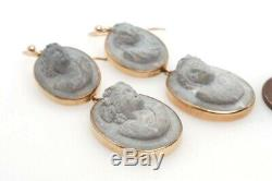 Antique Victorian Era 9k Gold Carved Lava Bacchante Cameo Drop Earrings