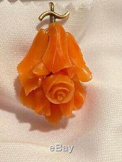 Antique Victorian Era Carved Natural Coral Earrings In 10k Gold