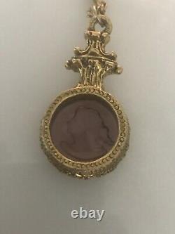 Antique Victorian Era Carved amethyst 12k Gold Filled Necklace