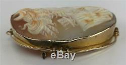 Antique Victorian Estate 10K Gold Carved Cameo Huntress Diana Pin Brooch Pendant