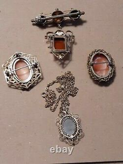 Antique Victorian Estate Carved Cameo Rose Gold Filled Lot Stone Pins Necklaces