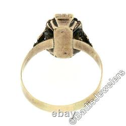 Antique Victorian Etched 10k Yellow Gold Petite Carved Tiger's Eye Cameo Ring