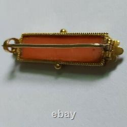 Antique Victorian Etruscan 14K Gold Filigree Salmon Carved Coral Bar Brooch Pin