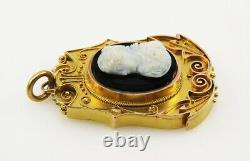 Antique Victorian Etruscan Revival 10K Gold Hand Carved Stone Cameo Pendant