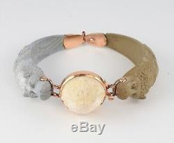 Antique Victorian Etruscan Revival 9Ct Rose Gold & Carved Lava Bangle Bracelet