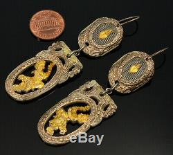 Antique Victorian French Earrings. Silver & Gold Overlay Carved Cherubs