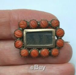 Antique Victorian Georgian 9ct Gold Carved Coral Mourning Brooch Pin