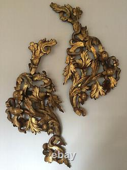 Antique Victorian Gilded Carved Wood Pair Wall Decoration Acanthus Fruit Snake