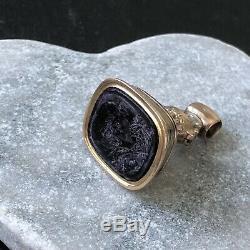 Antique Victorian Gold Cased Carved Purple Stone Intaglio Fob Seal
