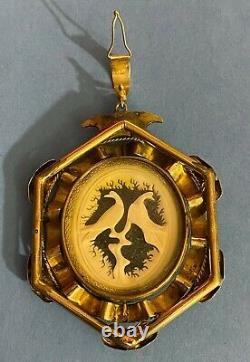 Antique Victorian Gold Filled Carved Revolving Pendant Charm Birds Under Glass