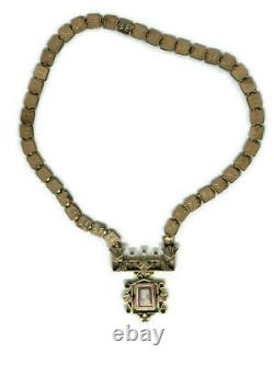 Antique Victorian Gold Filled Fancy Chain & Carved Stone Cameo Necklace