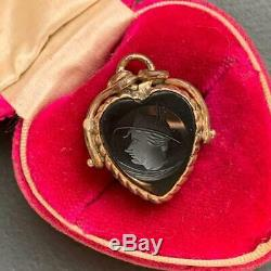 Antique Victorian Gold Filled Heart Carved Carnelian Cameo Pendant Charm