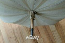 Antique Victorian Gold Jade Green Lining Silk Parasol Embroidered Carved Handle