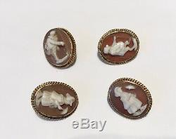 Antique Victorian Gold Set Of 4 Carved Cameo Figural Buttons
