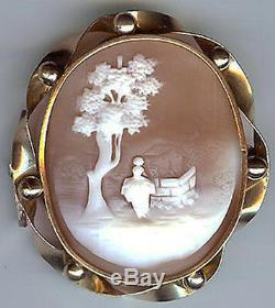 Antique Victorian Gold Tone Carved Shell Cameo Peaceful Scene Brooch Pin