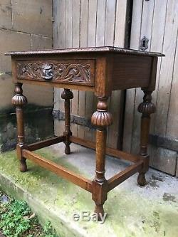 Antique Victorian Golden oak small Hall desk Lion head carved Library table