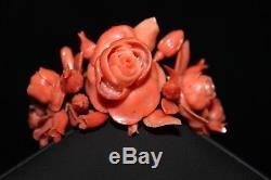 Antique Victorian Hand Carved Coral Roses Bracelet 18 K Gold 70.6 Grams