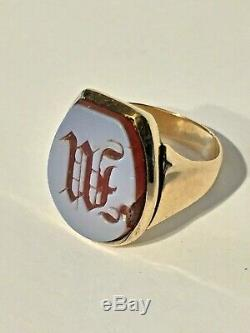 Antique Victorian Heavy 14k Gold Carved Shell Initial W Ring 10.5g Size 8.5