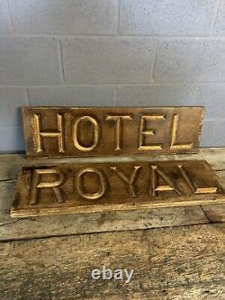 Antique Victorian Hotel Trade Sign Carved Gilded Wooden Gold Large Shop Prop
