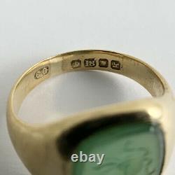 Antique Victorian Intaglio Carved Head Jade Gemstone Ring 18K Yellow Gold 7.84 G