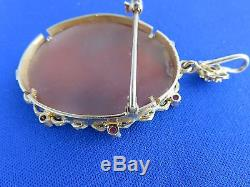 Antique Victorian Lady 18k Gold & 8 Ruby Carved Shell Cameo Pendant/brooch