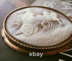 Antique Victorian Large 14k gold Frame Carved Shell Cameo Brooch Pin 2,5 x 2
