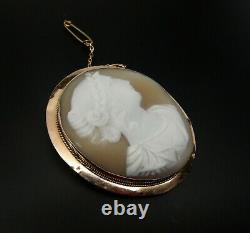 Antique Victorian Large 9 Ct Gold Hand Carved Cameo Pendant / Brooch