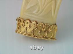 Antique Victorian Large Solid 18k Gold Carved Wart Hog Tusk Pin Brooch