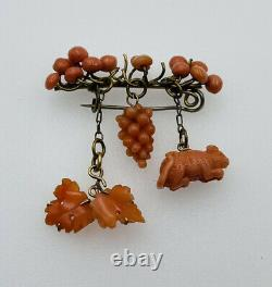 Antique Victorian Low Karat Gold Carved Coral Mouse Dangles Pin