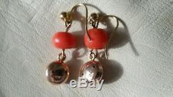 Antique Victorian Natural Hand Carved Coral Bead, 9ct Gold Drop Earrings
