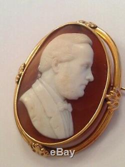 Antique Victorian Oval 15ct Gold Carved Shell Cameo Brooch Circa 1880