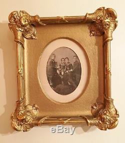 Antique Victorian Portrait Children Ornate Eastlake Picture Frame Gilded Carved