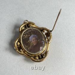 Antique Victorian Revolving Gold Cameo Shell Brooch Pendant Locket Hand Carved