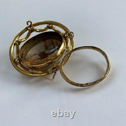Antique Victorian Revolving Gold Hand Carved Cameo Shell Glass Locket Pendant