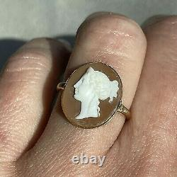 Antique Victorian Shell Cameo Carved Shell Maiden Face 14K Yellow Gold Ring 6.5
