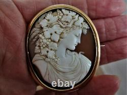 Antique Victorian Shell Carved Bacchante Gold Cameo Brooch-beautiful face