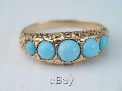 Antique Victorian Solid 10k Gold Carved 5 Turquoise Cab Stone Ring Gorgeous Sz 8