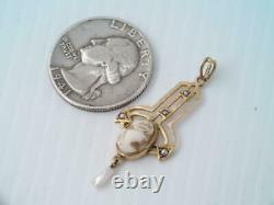 Antique Victorian Solid 10k Gold Carved Cameo & Seed Pearl Lavalier Pendant