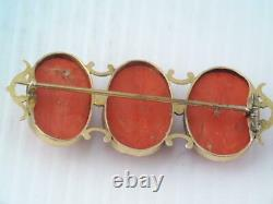 Antique Victorian Solid 14k Gold Carved Salmon Red Coral Brooch Pin
