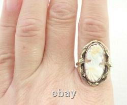 Antique Victorian Solid Multi Colored Gold Carved Cameo Shell Ring Sz 9