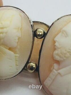 Antique Victorian Sterling Silver & 14k Gold Carved Men Cameo Bracelet